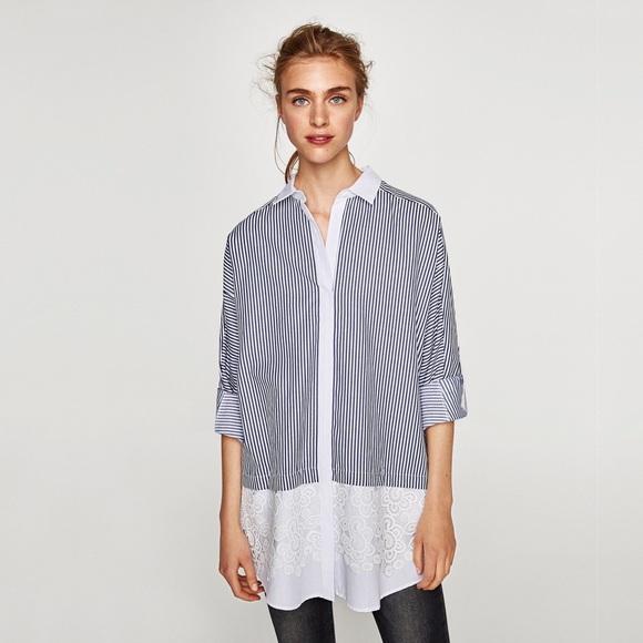 242d8071 Zara Tops | Contrasting Embroidered Striped Shirt Dress | Poshmark